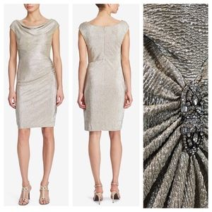 RALPH LAUREN EVENING Metallic Cowl-Neck Dress Gold